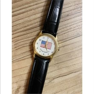 Black Leather Watch with American Flag Face